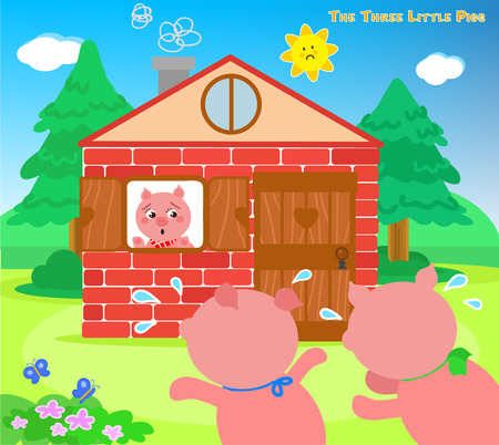 three animals: The three little pigs very scared running to the bricks house