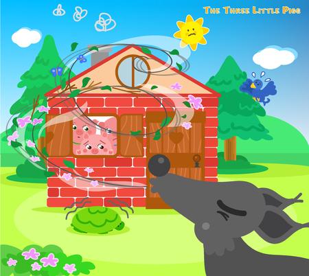Les trois porcs effrayés se cachent dans la maison de briques tandis que le grand méchant loup souffle Vecteurs