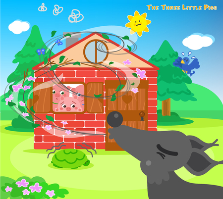 lobo: Los tres cerdos asustados se esconden en la casa de ladrillos mientras el lobo feroz sopla