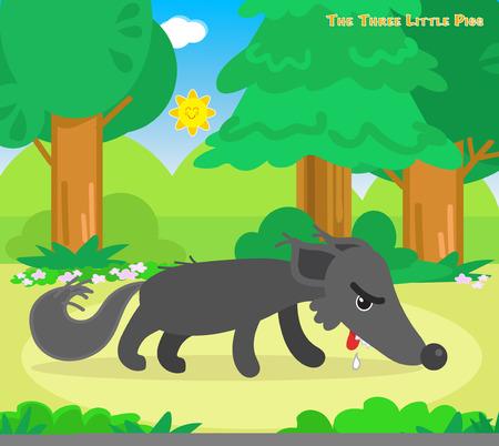 cerdo caricatura: lobo hambriento se va de la casa tres cerditos Vectores