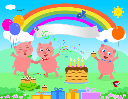 piglets: The three little pigs are celebrating a Happy Birthday Illustration