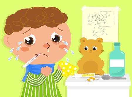 niños enfermos: Muchacho enfermo en llanto asustado por jeringa y médico