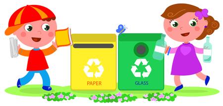 niños reciclando: Niño y niña en el reciclaje de papel y la bandeja de vidrio.