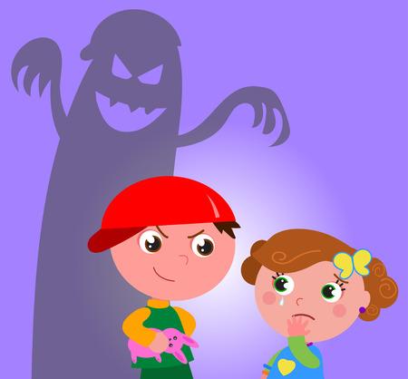 fille pleure: Petite fille effrayée par un gars vecteur mauvais bully