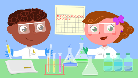 biochemical: Male and female young scientists working in lab. Vector illustration.