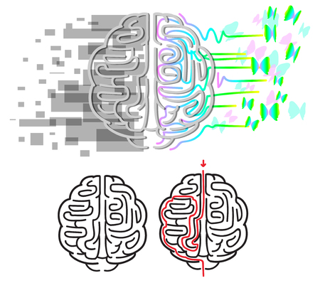 logic: Labyrinth in brain hemispheres, right is creativity and emotions, left is logic and organization. Illustration