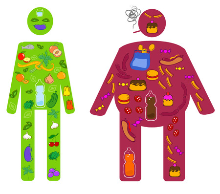 Healthy and unhealthy lifestyle and food vector 일러스트