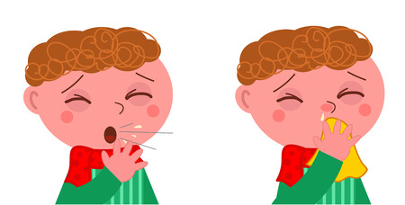 blowing nose: Sick boy with cough and cold vector illustration