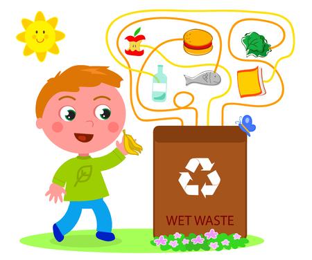 residuos organicos: juego de reciclaje de residuos húmedos Vectores
