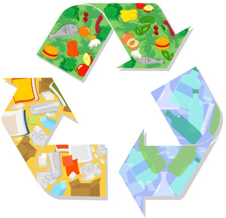 Recycling symbol with wet waste glass and paper