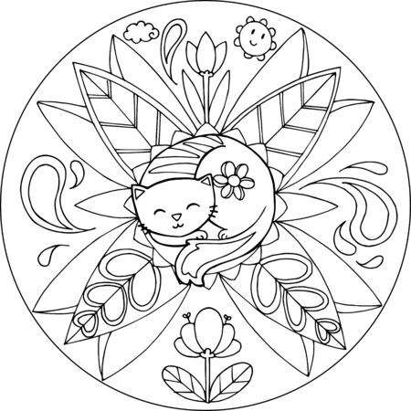 flowers cat: Coloring cat with flowers and leaves.