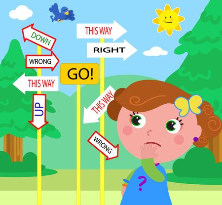 Doubtful girl looking at contradictory signs. Which way is the right one?