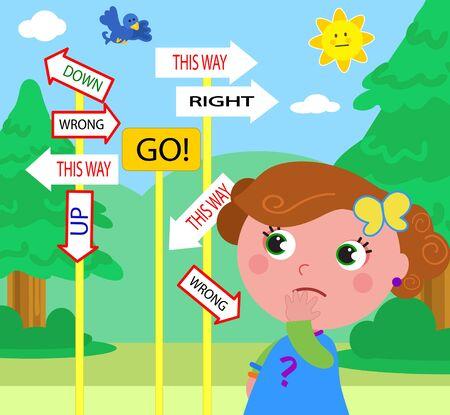 confundido: Muchacha dudosa mirando señales contradictorias. ¿Qué camino es el correcto?