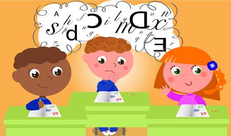 dyslexia: Dyslexic boy in school class