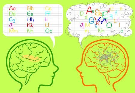 Il cervello di un ragazzo dislessico è confuso su lettere. Archivio Fotografico - 55976765