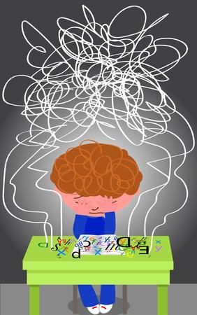 Gefrustreerd dyslectische jongen probeert te lezen. Stockfoto