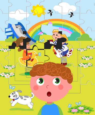 percepción: Niño afectado por el autismo con dificultades en la percepción.