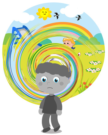 Boy affected by autism with perception difficulties.