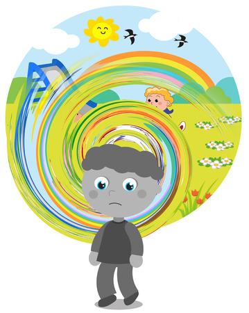 percepci�n: Ni�o afectado por el autismo con dificultades de percepci�n. Foto de archivo