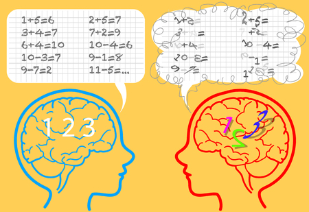 affected: Brain of a boy affected by dyscalculia confused about numbers. Illustration