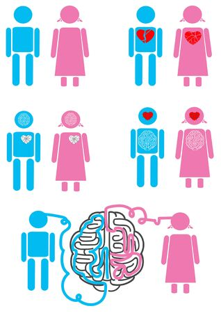 misunderstanding: Male and female heart relationships icons set