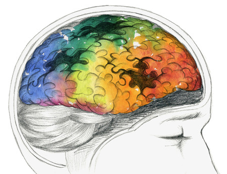 brain puzzle: Human brain with Alzheimers disease or other cerebral problem. Stock Photo