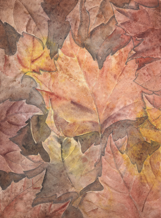 natures: watercolor pastel background of autumn leaves.