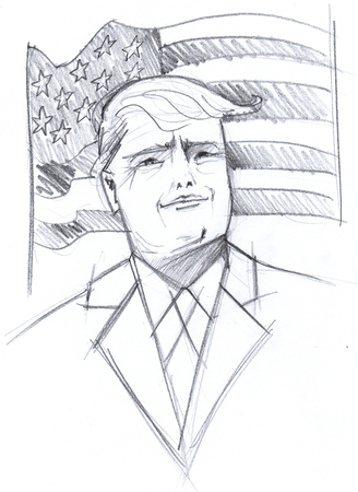 donald: Donald Trump pencil portrait with usa flag