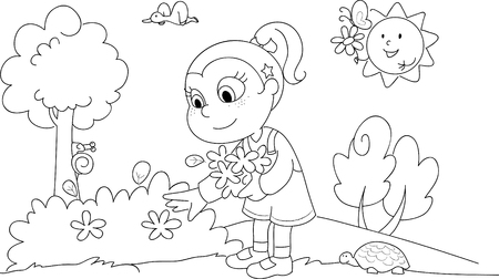plucking: Young cute girl picking flowers in a sunny wood.
