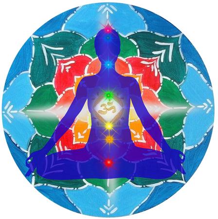 Yoga pose and chakra points OM mandala