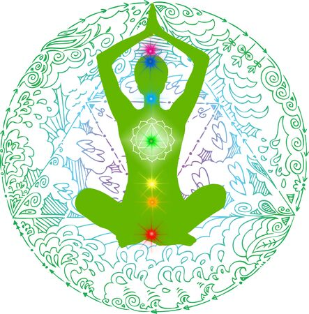 Lotus poses green mandala. Meditation asanas with colored chakra points.