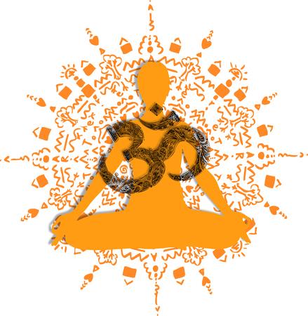 Lotus poses orange mandala. Meditation Asanas and OM