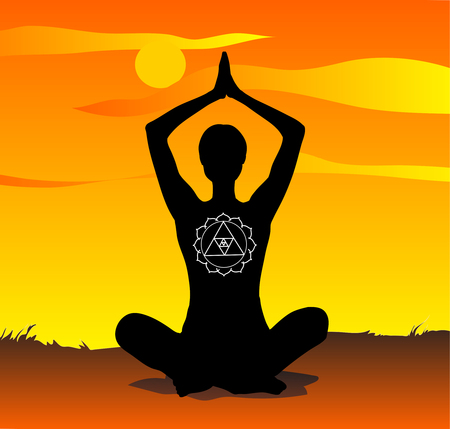 yoga meditation: Yoga at sunset, meditation poses vector