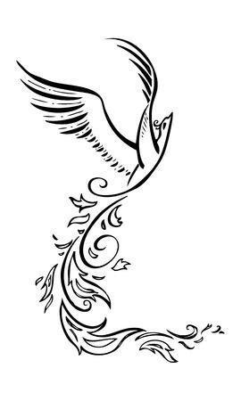 Phoenix decorativo pájaro que vuela. tatuaje gráfico. Foto de archivo - 72756451