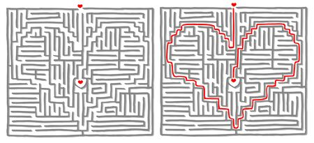 quizzes: Maze labyrinth game. Solution is a Heart Illustration