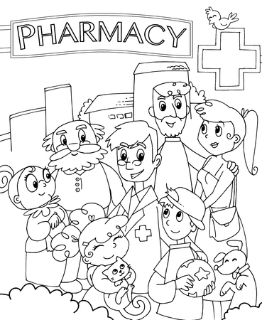 shop assistant: pharmacist and family outside a drugstore