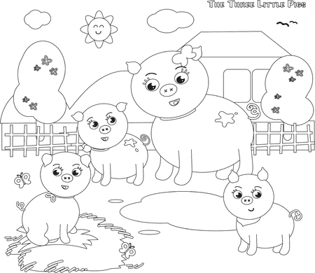 three little pigs: coloring vector three little pigs with mom Illustration