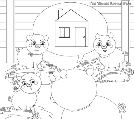 piglets: Coloring three little pigs: building a new house