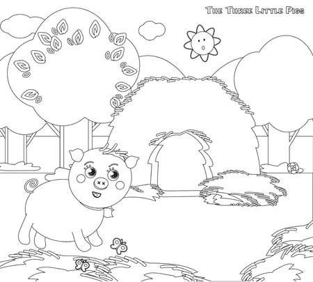 piglets: Coloring three little pigs strew the house