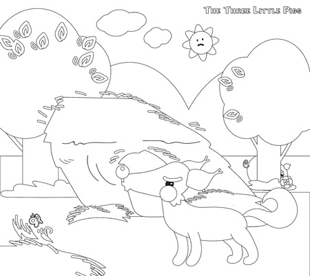 piglets: Coloring three little pigs 4 big bad wolf and strew house Illustration