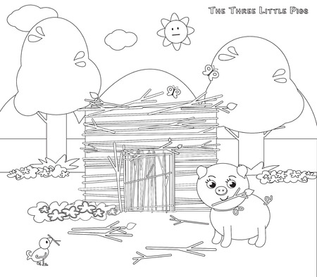 wood working: Coloring three little pigs 8 sticks house finished Illustration