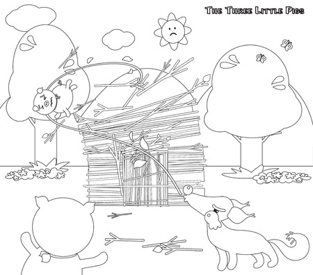 piglets: Coloring three little pigs wolf destroys 6