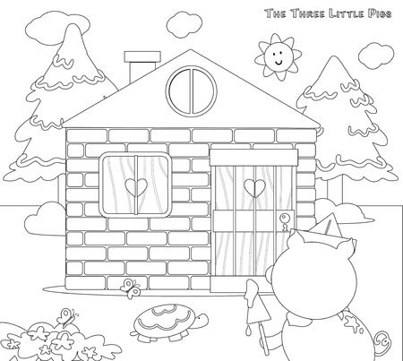 three little pigs: Coloring three little pigs 8 bricks house finished Illustration