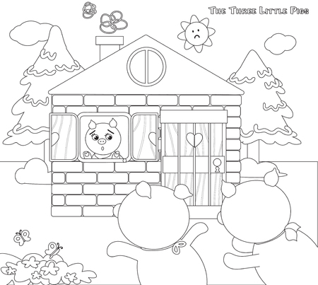 piglets: Coloring three little pigs scared 9 piglets