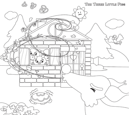 three little pigs: Coloring three little pigs wolf blowing 10 Illustration