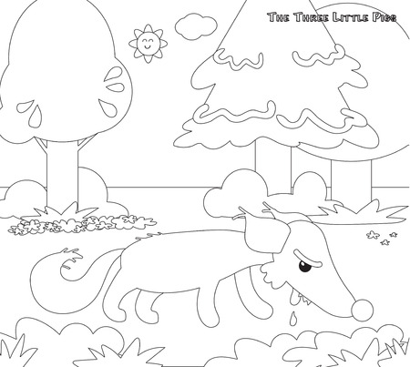 piglets: Coloring three little pigs 11 the hungry wolf