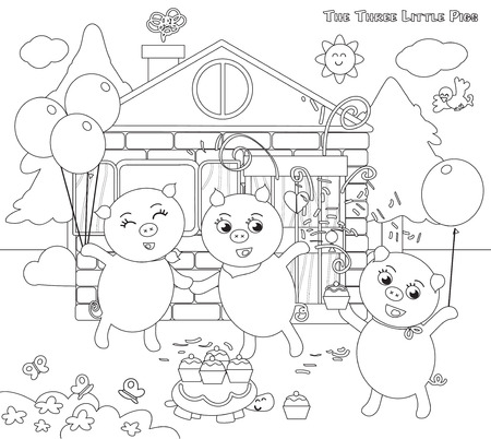 Coloring three little pigs folktale happy ending