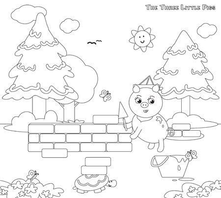 three little pigs: Coloring three little pigs 7 the bricks house