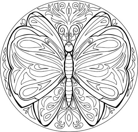 decorative coloring butterfly mandala vector Illustration