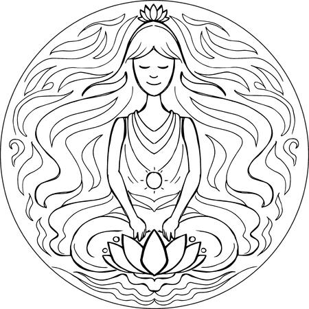 Woman in yoga meditation pose. Coloring vector Mandala Illustration